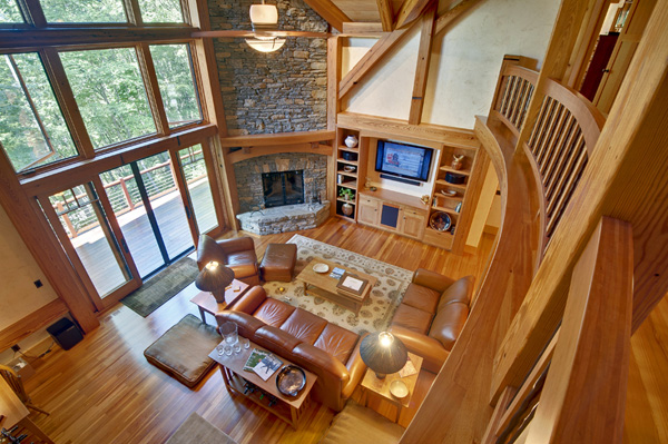 natural wood finish for timber frame home
